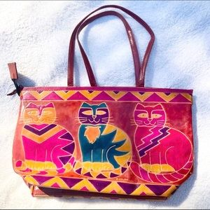 Vintage 90's colorful leather small cat tote